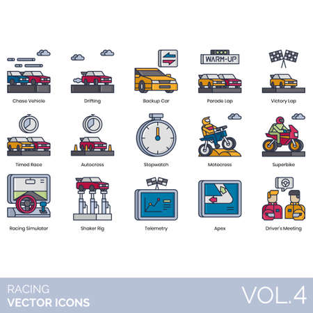 Racing icons including chase vehicle, drifting, backup car, parade lap, victory, timed race, autocross, stopwatch, motocross, superbike, simulator, shaker rig, telemetry, apex, drivers meeting. Illustration