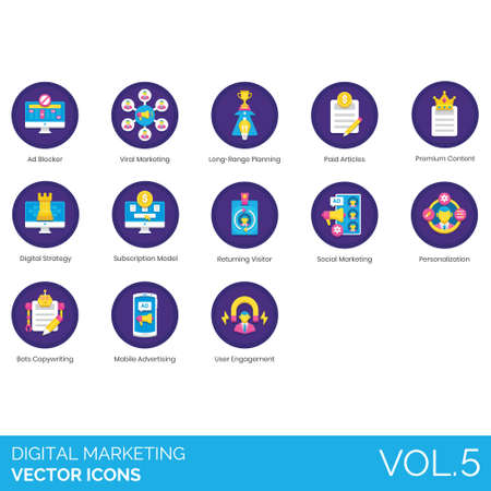 Digital marketing icons including ad blocker, viral, long range planning, paid articles, premium content, strategy, subscription model, returning visitor, social, personalization, bots copywriting, mobile advertising, user engagement. Illusztráció