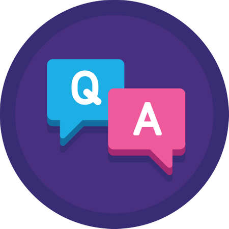 Flat vector icon illustration of speech bubbles with Q and A letter. Questions and answers session concept.
