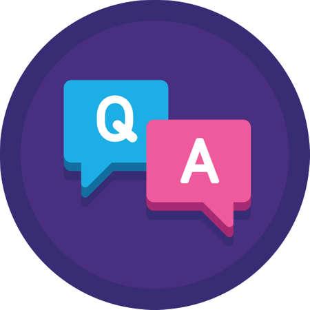 Ilustración de icono de vector plano de burbujas de discurso con letra Q y A. Concepto de sesión de preguntas y respuestas.