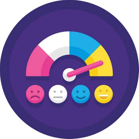 Flache Ikonenvektorillustration des Kundenzufriedenheitsmessers. Skala der Emotionen. Assessment-Management-Tools. Vektorgrafik