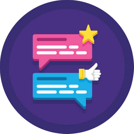 Flat vector icon illustration of speech bubbles with star and thumb up. Customer testimonials concept.