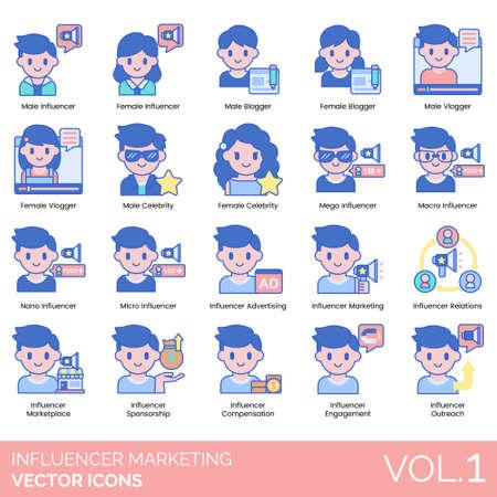 Influencer marketing icons including male, female, blogger Illustration