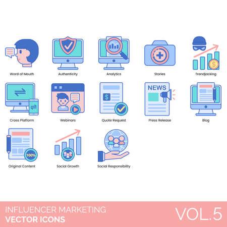 Icone di influencer marketing tra cui passaparola, autenticità, analisi, storie, trendjacking, multipiattaforma, webinar, richiesta di preventivo, comunicato stampa, blog, contenuti originali, crescita sociale, responsabilità.