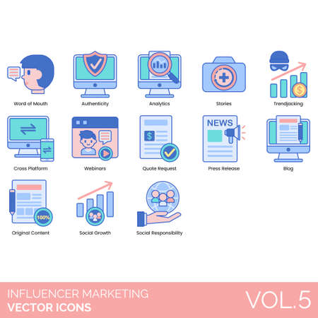 Influencer marketing icons including word of mouth, authenticity, analytics, stories, trendjacking, cross platform, webinar, quote request, press release, blog, original content, social growth, responsibility. Vettoriali