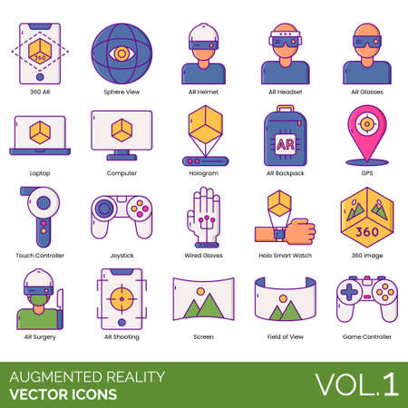 Augmented reality icons including 360 AR, sphere, helmet, headset, glasses, laptop, computer, hologram, backpack, GPS, touch controller, joystick, wired gloves, holo smart watch, image, surgery, shoot  イラスト・ベクター素材