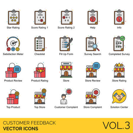 Customer feedback icons including star rating, score, help, info, satisfaction meter, checklist, fill up form, search, completed survey, review, store, top product, complaint, solution center.