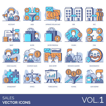Sales icons including account, AIDA, average dollar, b2b, b2c, BANT, buyer persona, churn, CRM, cold calling, complex, data entry, decision maker, demographic, enablement, ethics, forecasting, funnel,