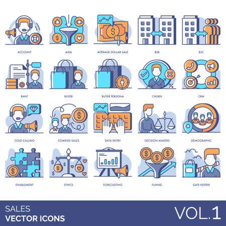 Verkaufssymbole einschließlich Konto, AIDA, durchschnittlicher Dollar, b2b, b2c, BANT, Buyer Persona, Churn, CRM, Cold Calling, Komplex, Dateneingabe, Entscheidungsträger, Demografie, Enablement, Ethik, Prognose, Trichter, Gatekeeper.