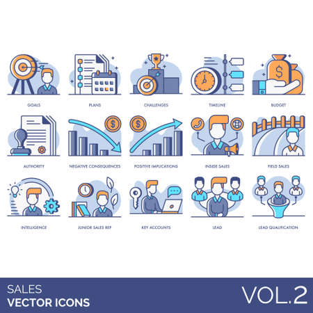 Sales icons including goals, plan, challenge, timeline, budget, authority, negative consequence, positive implication, inside, field, intelligence, junior rep, key account, lead qualification. 일러스트