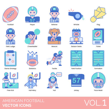 American football icons including player, referee, whistle, flag, field judge, cheerleader, mascot, season seat, ticket, game strategy, statistics, tackle, position, formation, free kick, hail mary, hut, jersey, face mask.
