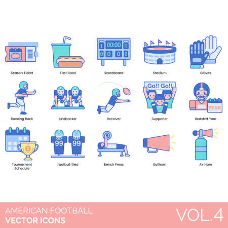 American football icons including season ticket, fast food, scoreboard, stadium, gloves, running back, linebacker, receiver, supporter, redshirt year, tournament schedule, sled, bench press, bullhorn, air horn.