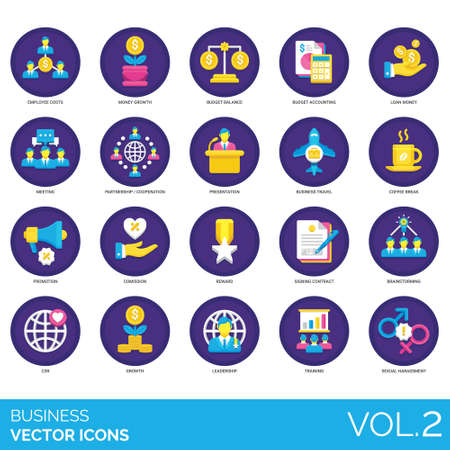 Business icons including employee cost, money growth, budget balance, accounting, loan, meeting, partnership, cooperation, presentation, travel, coffee break, promotion, commission, reward, signing co