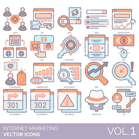 Internet marketing icons including lead, CTR, SEM, SERP, bounce rate, backlink, CTA, landing page, CPC, conversion, impression, paid traffic, SEO, keyword stuffing, 301, 302 redirect, 404 error, white hat, UX.