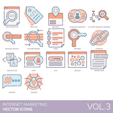 Internet marketing icons including meta description, tag, map pack, lookalike audiences, LSI, keyword stuffing, density, index, hyperlink, hreflang, HTTPS, HTTP, heatmap, header code, hashtag, crawler. Çizim