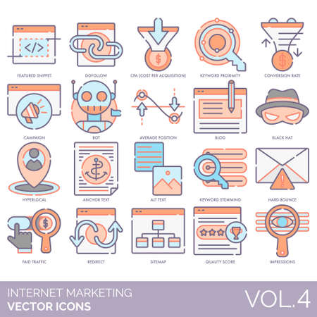 Internet marketing icons including featured snippet, dofollow, CPA, keyword proximity, conversion rate, campaign, bot, average position, blog, black hat, hyperlocal, anchor text, alt, stemming, hard bounce, paid traffic, redirect, sitemap, quality score, impression.