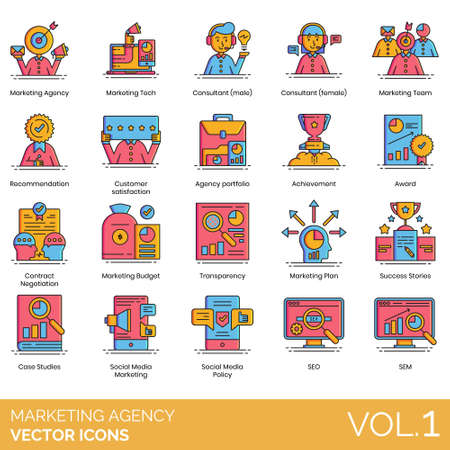 Marketing agency icons including tech, consultant, team, recommendation, customer satisfaction, portfolio, achievement, award, contract negotiation, budget, transparency, plan, success stories, case study, social media policy, SEO, SEM. Illustration