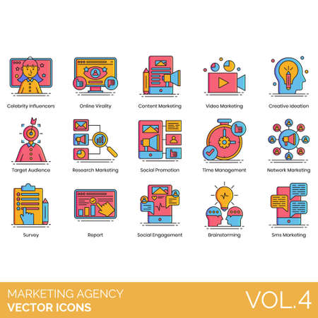 Marketing agency icons including celebrity influencer, online virality, content, video, creative ideation, target audience, research, social promotion, time management, network, survey, report, engagement, brainstorming, sms.