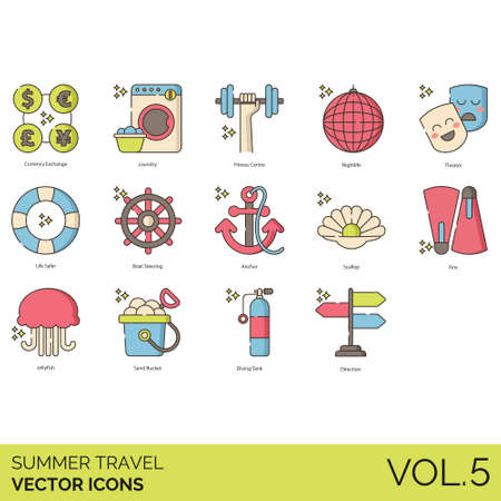 Summer travel icons including currency exchange, laundry, fitness centre, nightlife, theater, life safer, boat steering, anchor, scallop, fins, jellyfish, sand bucket, diving tank, direction.