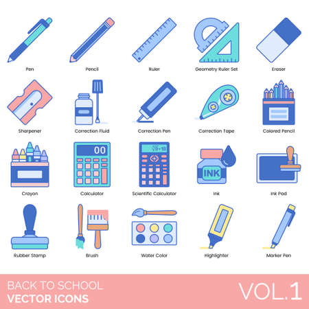 Back to school icons including pen, geometry ruler set, eraser, sharpener, correction fluid, tape, colored pencil, crayon, scientific calculator, ink pad, rubber stamp, brush, watercolor, highlighter, marker.
