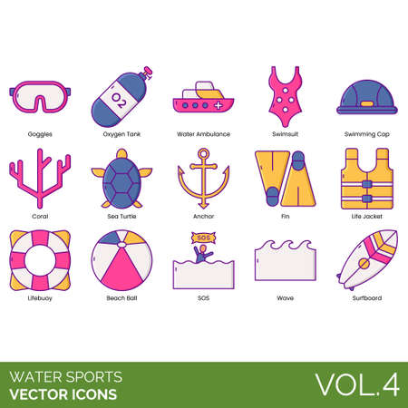Water sports icons including goggles, oxygen tank, ambulance, swimsuit, swimming cap, coral, sea turtle, anchor, fin, life jacket, lifebuoy, beach ball, SOS, wave, surfboard. Ilustração