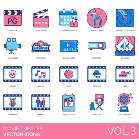 Movie theater icons including rated PG, rating, release calendar, parental guide, opening countdown, film camera, box office, cinema ticket, projector, 4K, horror, musical, sport, detective, war, superhero, family, poster, director, award. Ilustrace