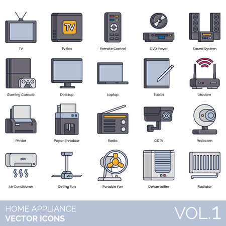 Home appliance icons including TV box, remote control, DVD player, sound system, gaming console, desktop, laptop, tablet, modem, printer, paper shredder, radio, CCTV, webcam, air conditioner, ceiling fan, portable, dehumidifier, radiator. Illustration