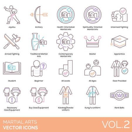 Martial arts icons including jujutsu, archery, health orientated, spirituality oriented, unarmed fighting, armed, traditional, contemporary, master, apprentice, student, beginner, all levels, ages, gear provided, necessary equipment, buy, karategi, karate uniform, kung fu, rank belt.