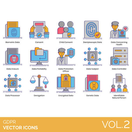 GDPR icons including biometric data, child consent, dactyloscopic, concerning health, erasure, portability, protection officer, subject, controller, processor, derogation, encrypted, genetic, identifi