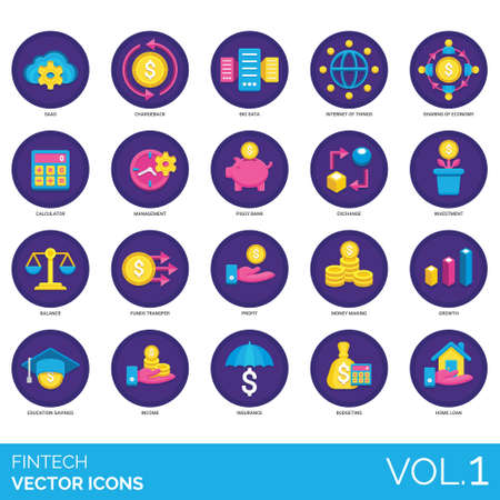 Fintech icons including saas, chargeback, big data, internet of things, sharing economy, calculator, management, piggy bank, exchange, investment, balance, fund transfer, profit, money making, growth, education savings, income, insurance, budgeting, home loan. Stock Illustratie