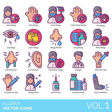 Allergy icons including food, dust, insect sting, pet, eye, latex, allergic rhinitis, drug, mold, sinus, ear infection, cockroach, allergist, skin prick test, intradermal, shots, nasal spray, antihistamine, bronchodilator.