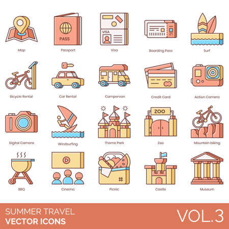 Summer travel icons including map, passport, visa, boarding pass, surf, bicycle rental, car, campervan, credit card, action camera, digital, windsurfing, theme park, zoo, mountain biking, BBQ, cinema, picnic, castle, museum.