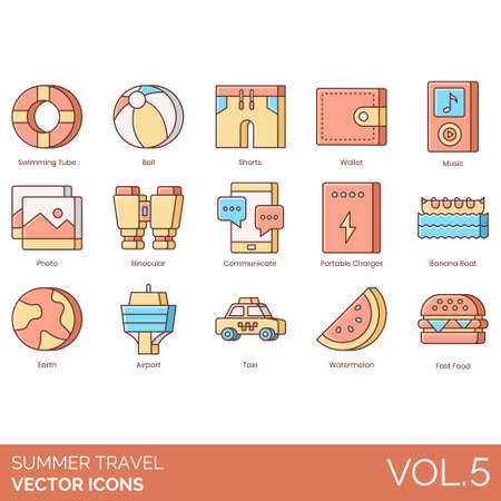 Summer travel icons including swimming tube, ball, shorts, wallet, music, photo, binocular, communicate, portable charger, banana boat, earth, airport, taxi, watermelon, fast food. Ilustracja