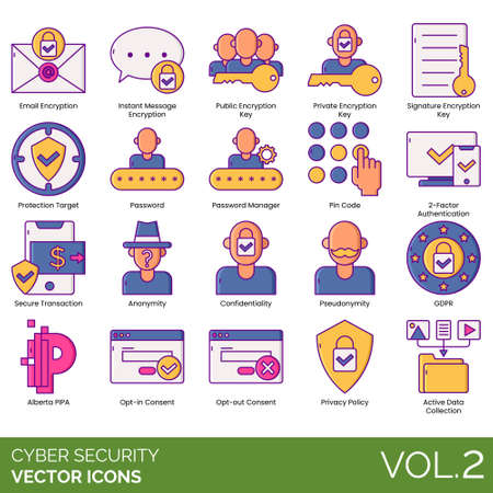 Cyber security icons including email encryption, instant message, public key, private, signature, protection target, password manager, pin code, 2 factor authentication, secure transaction, anonymity,