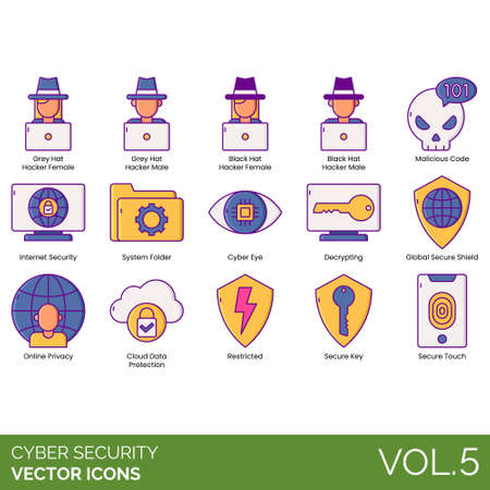 Cyber security icons including grey, black hat, hacker, female, male, malicious code, internet, system folder, eye, decrypting, global secure shield, online privacy, cloud data protection, restricted, key, touch.