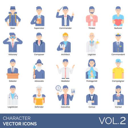 Characters icons including doer, supervisor, commander, thinker, nurturer, visionary, composer, architect, logician, commandant, debater, advocate, mediator, protagonist, campaigner, logistician, defender, executive, consul.