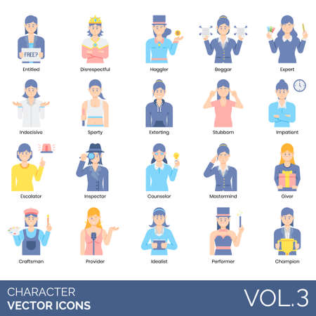 Characters icons including entitled, disrespectful, haggler, beggar, expert, indecisive, sporty, extorting, stubborn, impatient, escalator, inspector, counselor, mastermind, giver, craftsman, provider, idealist, performer, champion. Illustration