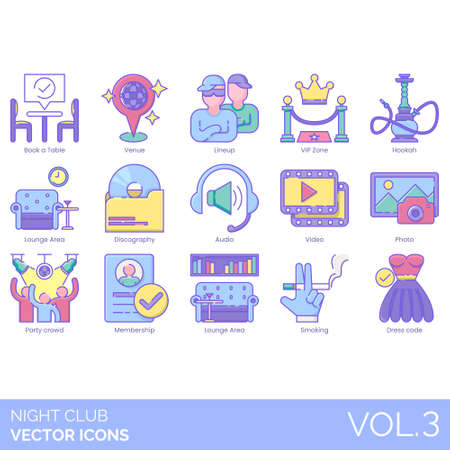 Night club icons including book a table, venue, lineup, VIP zone, hookah, lounge area, discography, audio, video, photo, party crowd, membership, smoking, dress code. Ilustração