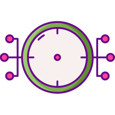 Flat vector icon illustration of aimbot for shooting video game. Esports concept.