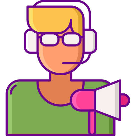 Flat vector icon illustration of male video game caster with headset and bullhorn. Esports concept.