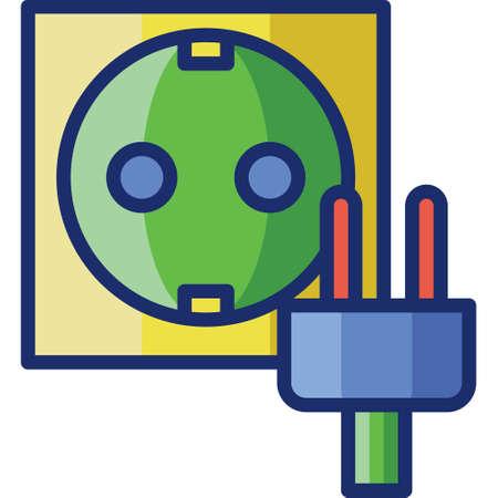 Flat vector icon illustration of appliance plug electric socket Çizim
