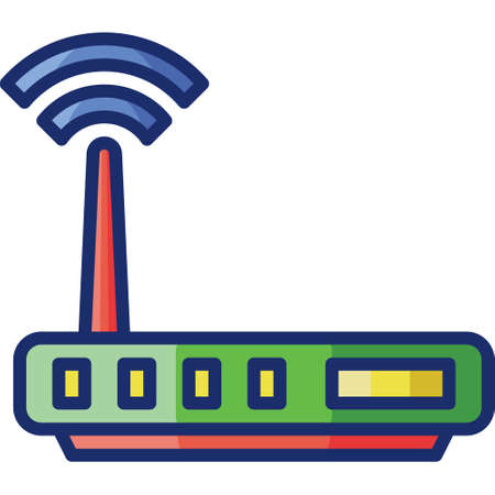 Flat vector icon illustration of internet modem device