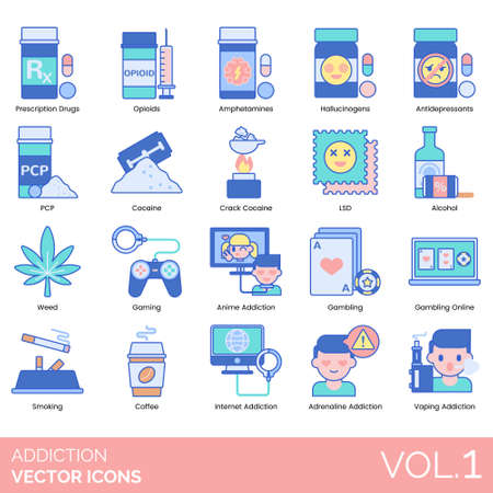 Addiction icons including prescription drugs, opioids, amphetamines, hallucinogens, antidepressants, PCP, crack cocaine, LSD, alcohol, weed, gaming, anime, gambling online, smoking, coffee, internet, adrenaline, vaping. Illustration