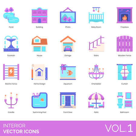 Interior icons including pond, building, photo, baby room, fireplace, fountain, house, garage, stairs, wooden fence, electric, home design, aquarium, chandelier, curtain, candle, swimming pool, front door, patio, bathroom. Vettoriali