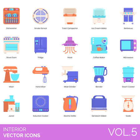 Interior icons including dishwasher, smoke sensor, trash compactor, ice cream, barbecue, stove oven, fridge, hood, coffee maker, microwave, hand mixer, meat grinder, blender, steam cooker, juicer, induction, electric kettle, sandwich, scale.