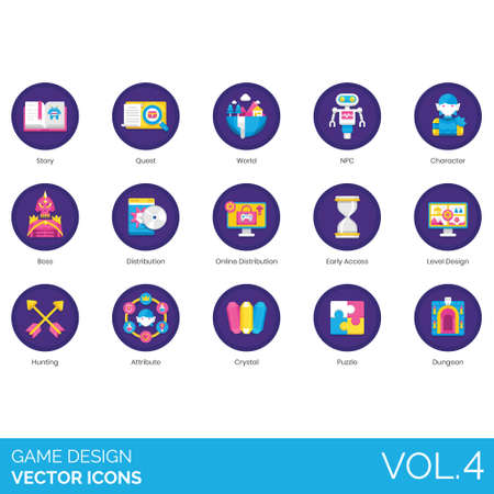 Game design icons including story, quest, world, NPC, character, boss, online distribution, early access, level, hunting, attribute, crystal, puzzle, dungeon.