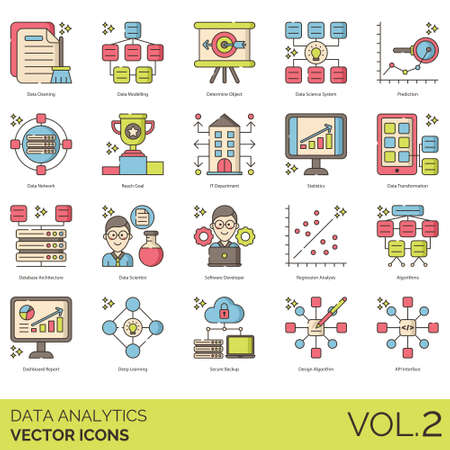 Data analytics icons including cleaning, modeling, determine object, science system, prediction, network, reach goal, IT department, statistics, transformation, database architecture, scientist, software developer, regression analysis, algorithm, dashboard report, deep learning, secure backup, design, API interface.