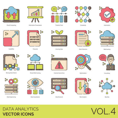 Data analytics icons including cloud computing, information presentation, timeline, complexity, automation, scalability, protocols, growing, protection, web hosting, missing pattern, shared, internet server error, optimization, consulting, engineering, visualization, research, risk, big. 向量圖像