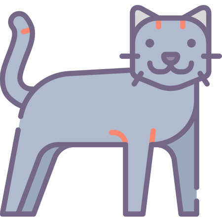 Flat vector icon illustration of a cat. Animals and fauna concept.