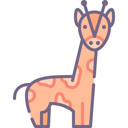 Vector flat icon illustration of a giraffe. Animals and fauna concept.